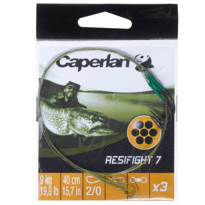 Avançon pêche carnassier RESIFIGHT 7 hameçon simple 12KG x3 - 831457