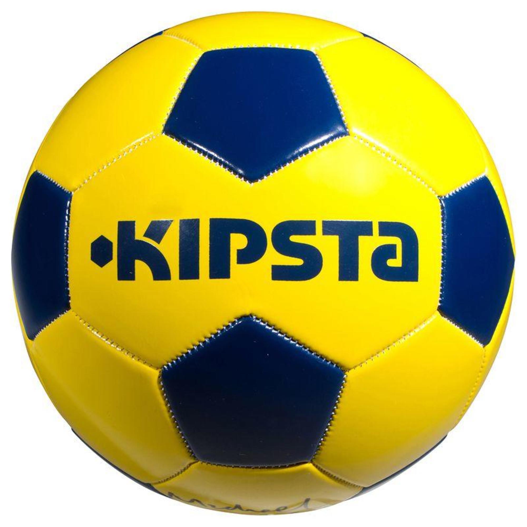 ballon de football first kick taille 4 enfant de 8 12 ans jaune bleu kipsta by decathlon. Black Bedroom Furniture Sets. Home Design Ideas