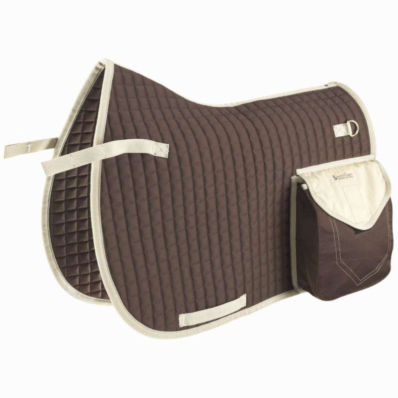 TRAIL RIDING HORSE EQUIPEMENT Horse Riding - Trail Saddle Cloth - Brown FOUGANZA - Saddlery and Tack