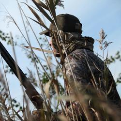 Jagers T-shirt met lange mouwen Steppe 300 moeras camouflage - 834300