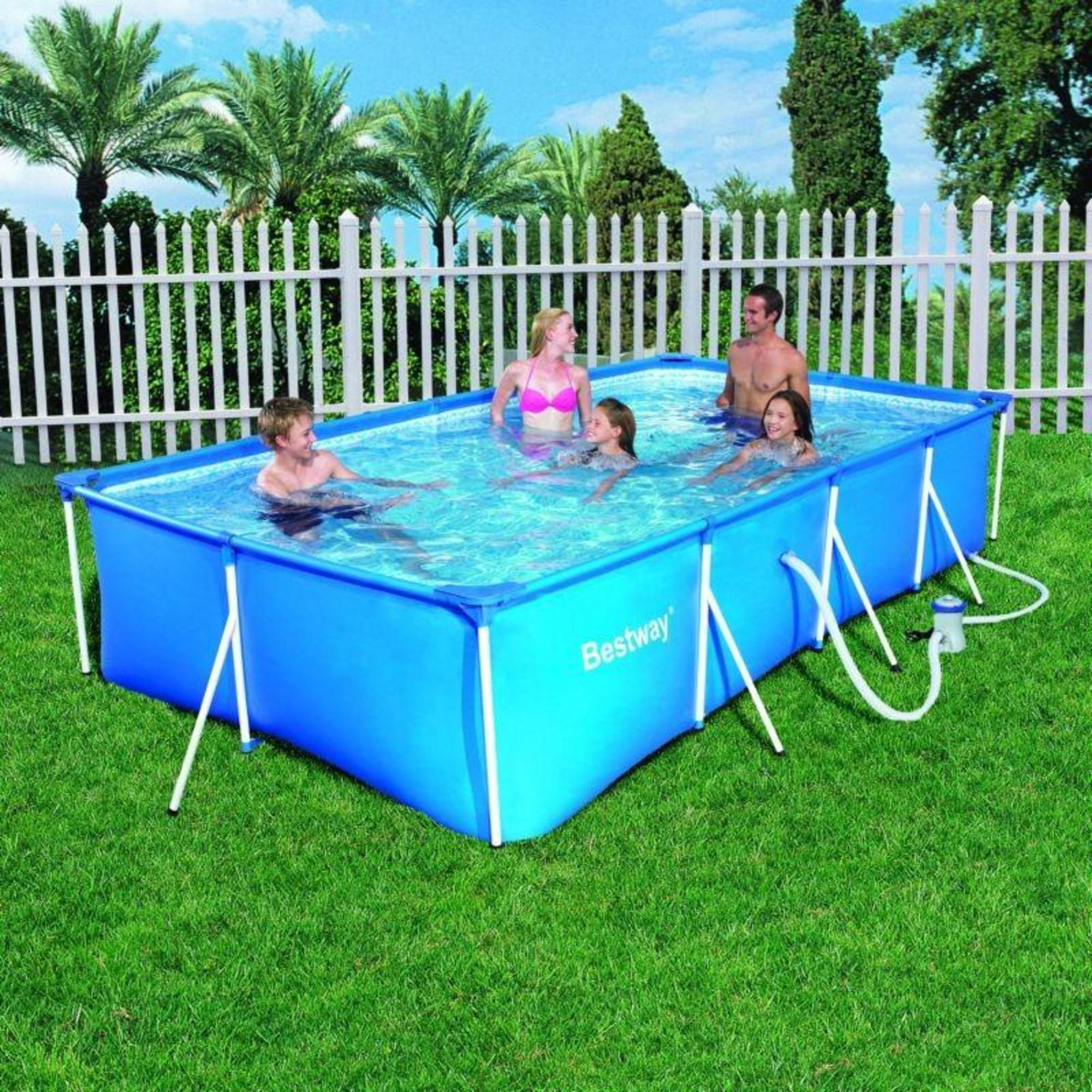 Piscina desmontable nataci n bestway rectangular tubular for Piscinas desmontables decathlon 2016