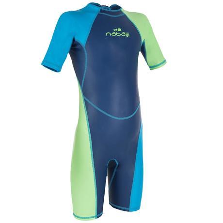 combinaison shorty natation garcon kloupi bleu bleu vert. Black Bedroom Furniture Sets. Home Design Ideas