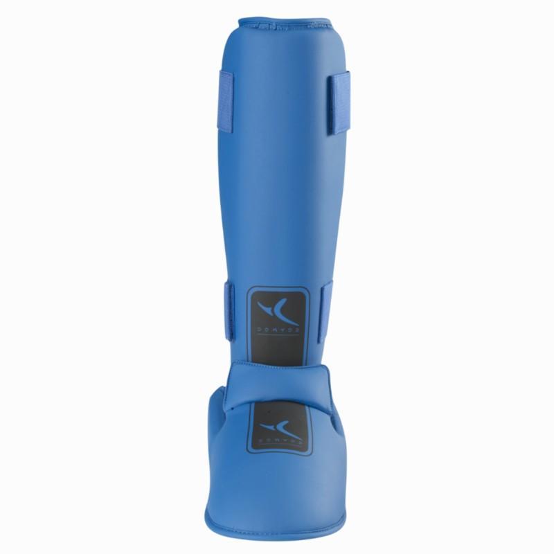Domyos Scheenbeschermer met afneembare voetbeschermer martial arts blauw