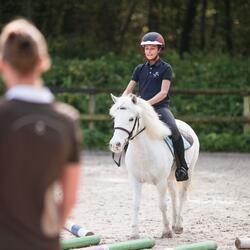 Jongenspolo Horse met korte mouwen ruitersport - 835756
