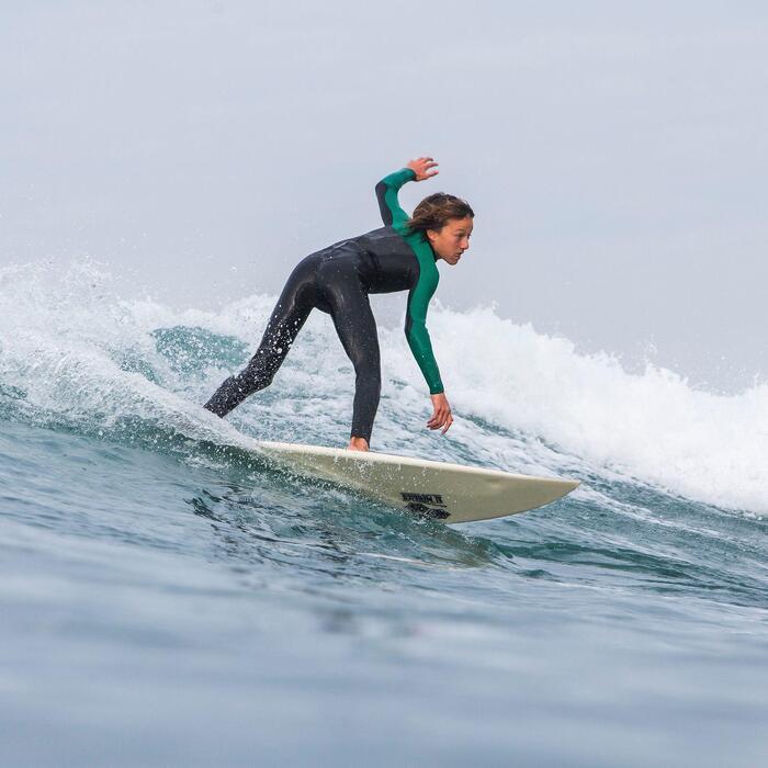 Combinaison Surf 500 Néoprène 4/3 mm Enfant verte - 835868