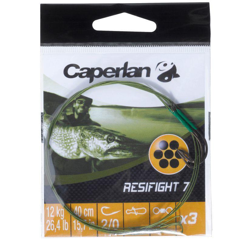 Terminali acciaio pesca predatori RESIFIGHT 7 amo semplice 12 kg x3