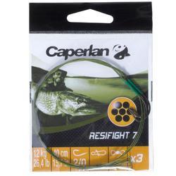 Avançon pêche carnassier RESIFIGHT 7 hameçon simple 12KG x3