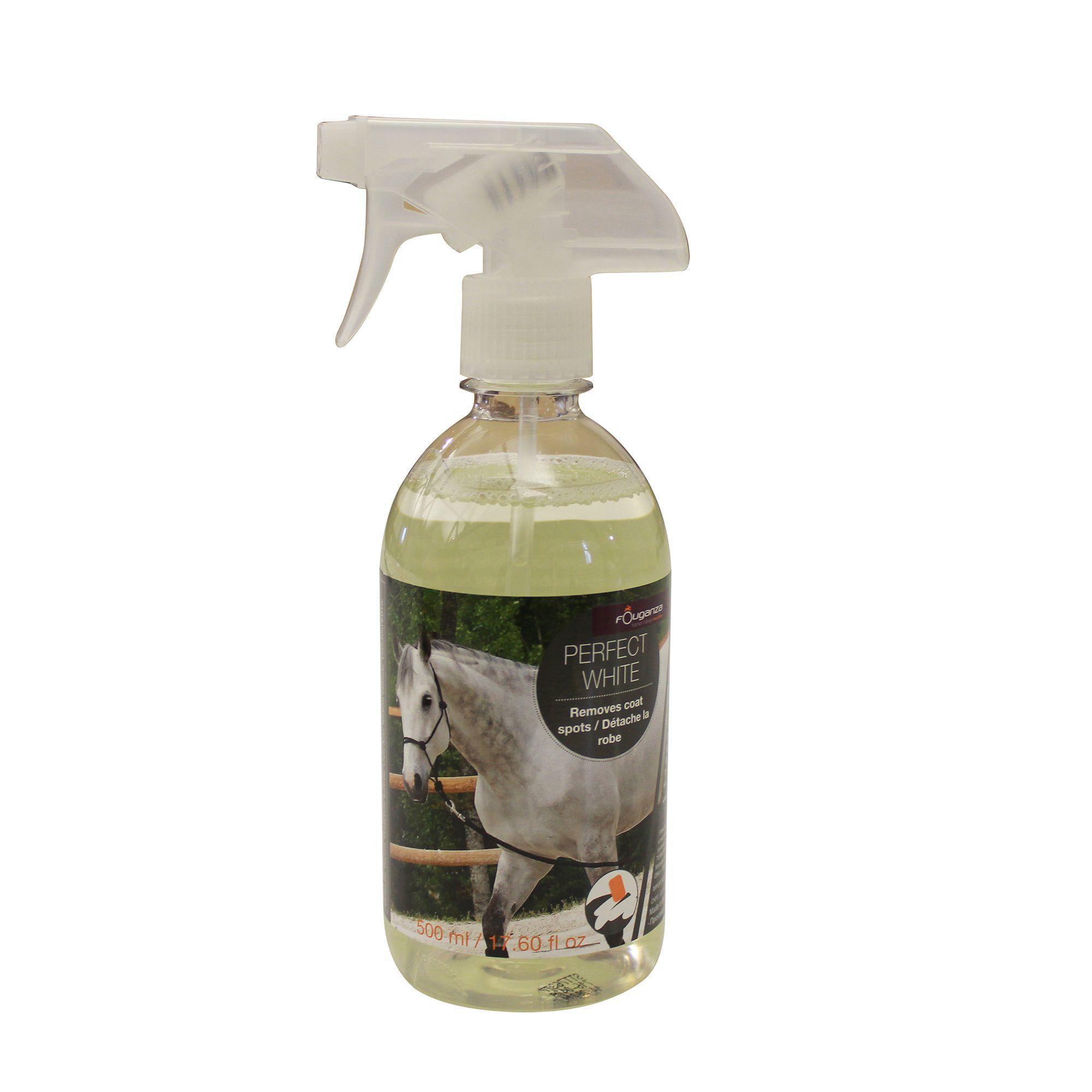 Fouganza Ontvlekkerspray ruitersport paarden en pony's Perfect White 500 ml