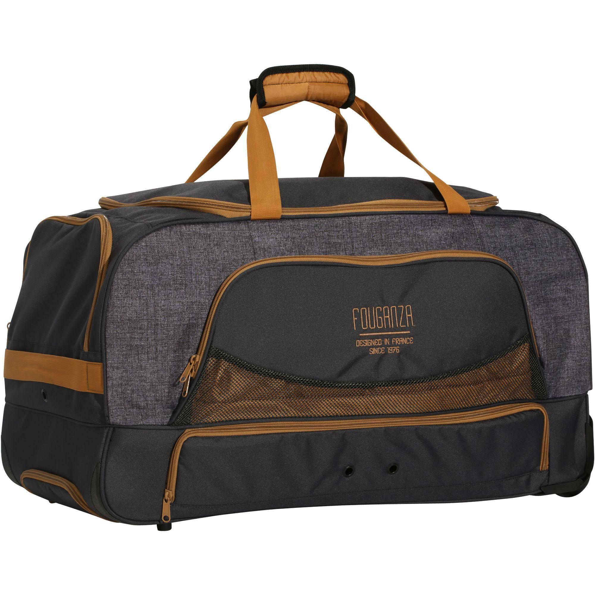 Trolley Bag For Horse Riding Gear 80l Grey Camel Fouganza