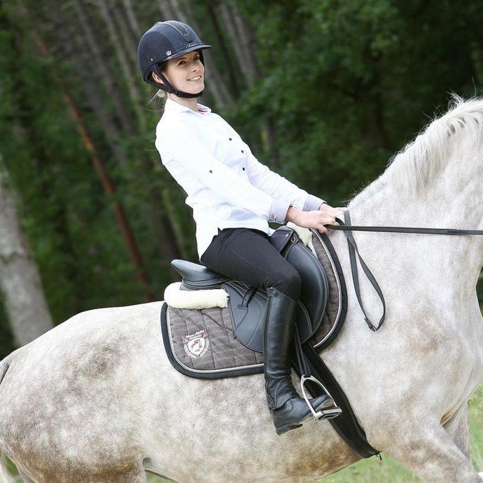 """Selle mixte synthétique à arçon réglable équitation cheval RIDE 2 noir 17""""5 - 838818"""