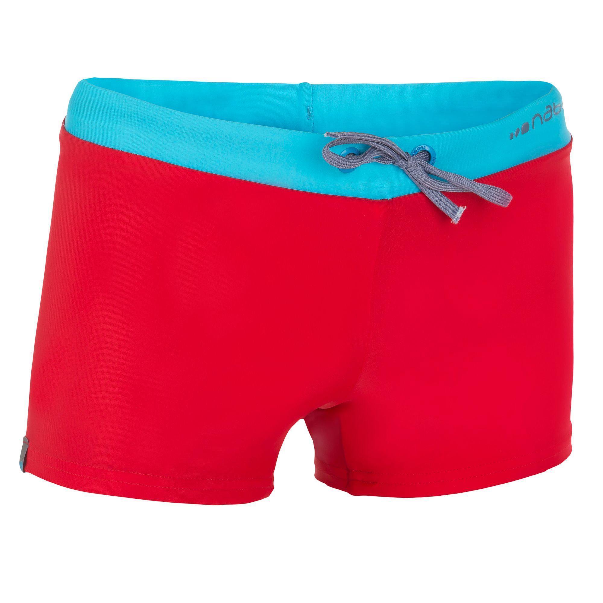 maillot de bain garcon boxer b active pep rouge bleu nabaiji. Black Bedroom Furniture Sets. Home Design Ideas