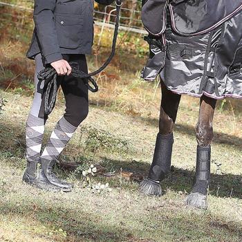 2 volledige neopreen peesbeschermers voor paardrijden zwart