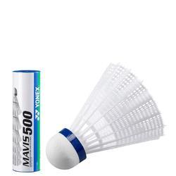 Badminton shuttle Mavis 500 wit 6 stuks - 842707