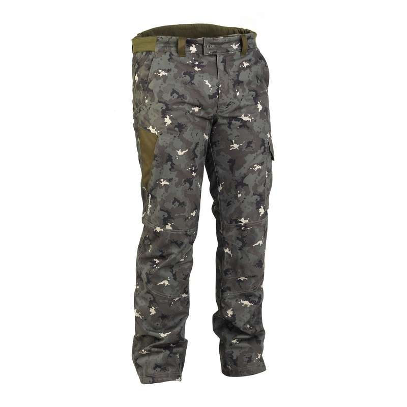 WARM CLOTHING Shooting and Hunting - 500 Warm Waterproof Hunting Trousers - Camouflage SOLOGNAC - Hunting and Shooting Clothing