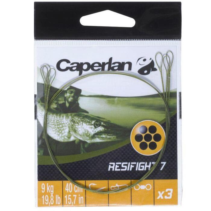 Avançon pêche carnassier RESIFIGHT 7 2 BOUCLES 12KG x3 - 846698