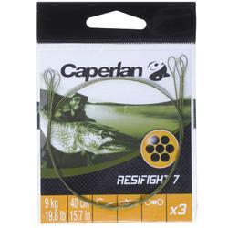 Avançon pêche carnassier RESIFIGHT 7 2 BOUCLES 9KG