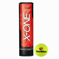 Tennisballen X One set van 4 geel