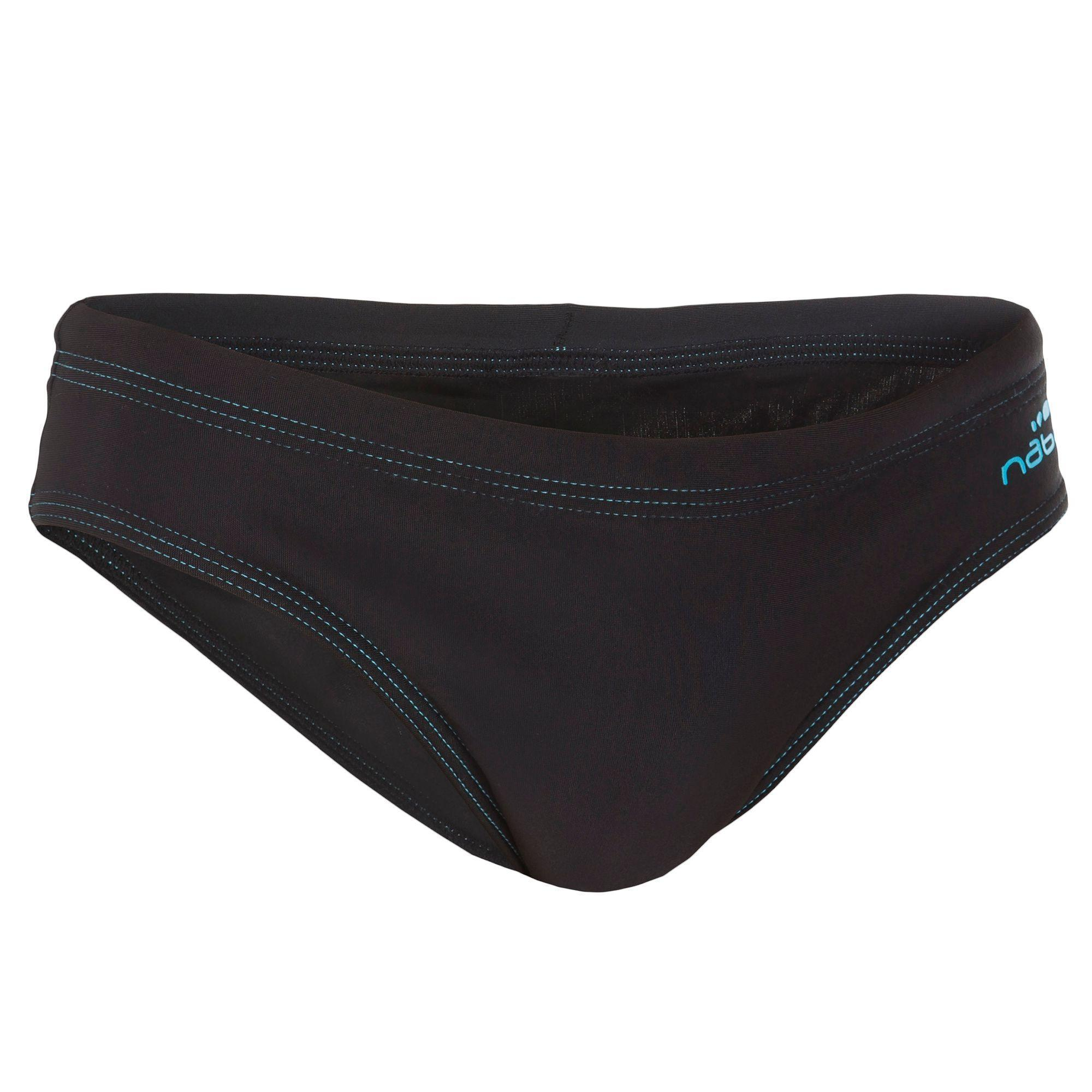 100 boys 39 swimming briefs basic black nabaiji for Costumi decathlon piscina