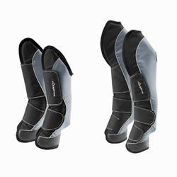 4 protectores de transporte equitación caballo TRAVELLER 500 negro y gris