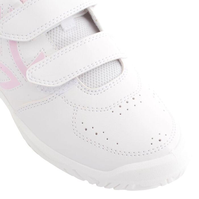 兒童款抓地網球鞋TS100-白色/粉紅色
