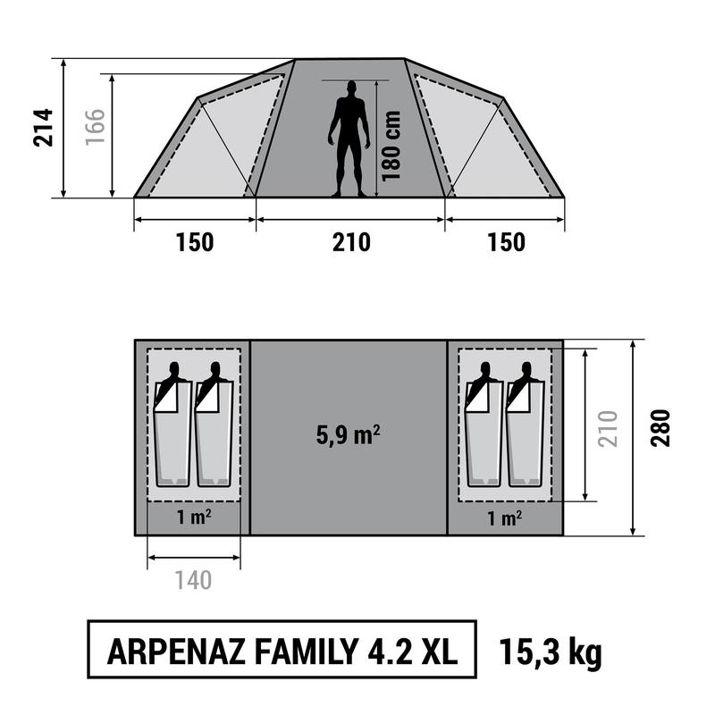 tente de camping familiale arpenaz 4 2 xl 4 personnes 2. Black Bedroom Furniture Sets. Home Design Ideas