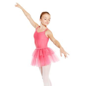 Balletpakje Sylvia met smalle bandjes voor meisjes fuchsia
