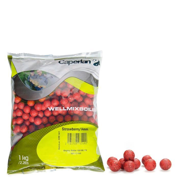 Boilies Wellmix 14mm Erdbeere 1kg Karpfenangeln