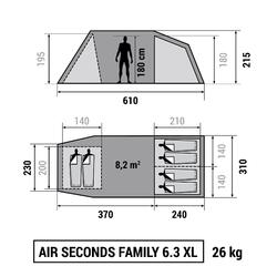 Kampeertent Air seconds family 6.3xl   6 personen grijs - 871340