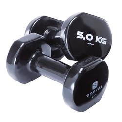Halters in pvc voor gym en pilates 2 x 5 kg
