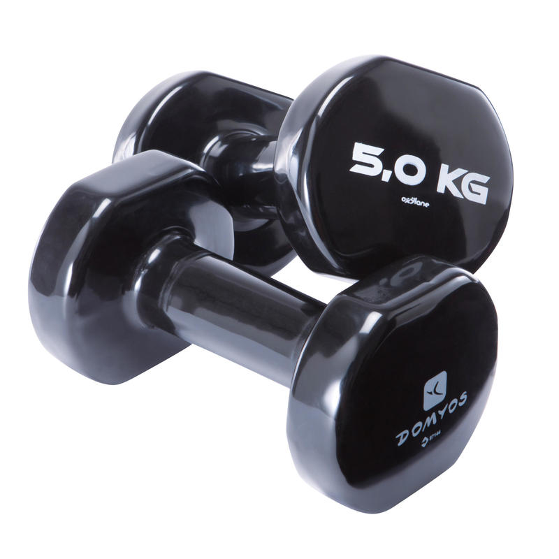 Fitness 5 kg Dumbbells Twin-Pack - Black