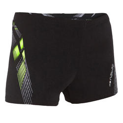 500 Fit Adibo Boy's Swimming Boxer Shorts - Black Yellow