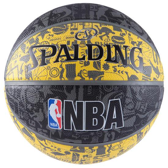 Basketbal NBA Grafitti zwart/geel Maat 7 - 878930