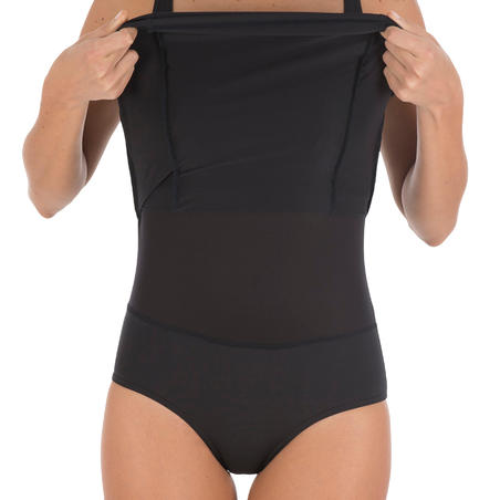 Kaipearl Women's Body-Sculpting One-Piece Skirt Swimsuit - Black