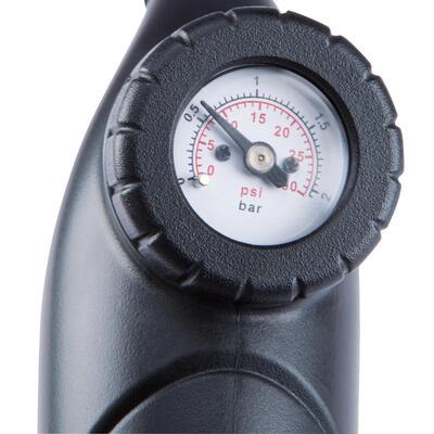 Bomba para inflar balón con manómetro doble acción negra con racor flexible