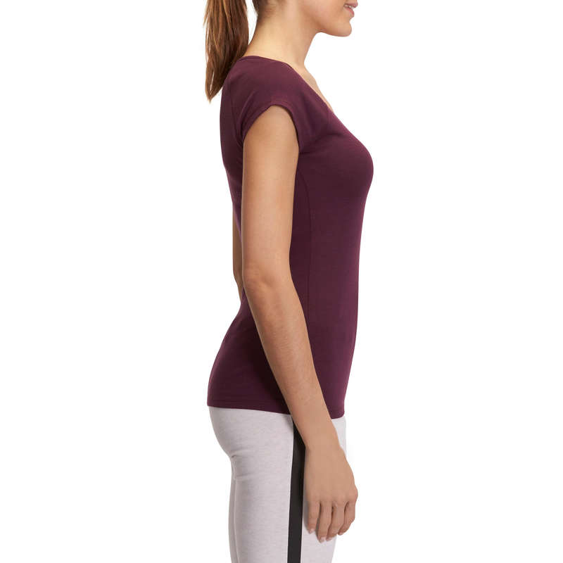DÁMSKÁ TRIČKA, LEGÍNY, KRAŤASY Fitness - TRIČKO ACTIVE SLIM NA FITNESS NYAMBA - Fitness oblečení a boty