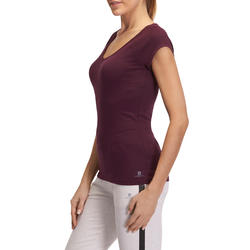 Dames T-shirt voor gym en pilates, slim fit - 880297