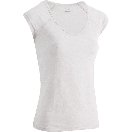 Dames T-shirt voor gym en pilates, slim fit - 880308