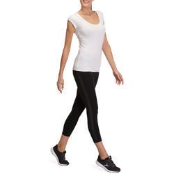 Dames T-shirt voor gym en pilates, slim fit - 880312