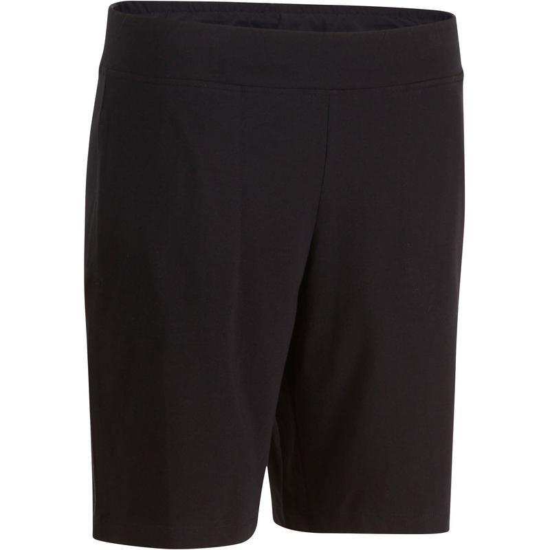 400335d409 Női rövidnadrág kímélő tornához, pilateshez Fit+ 500-as, egyenes szárú,  fekete | Domyos by Decathlon