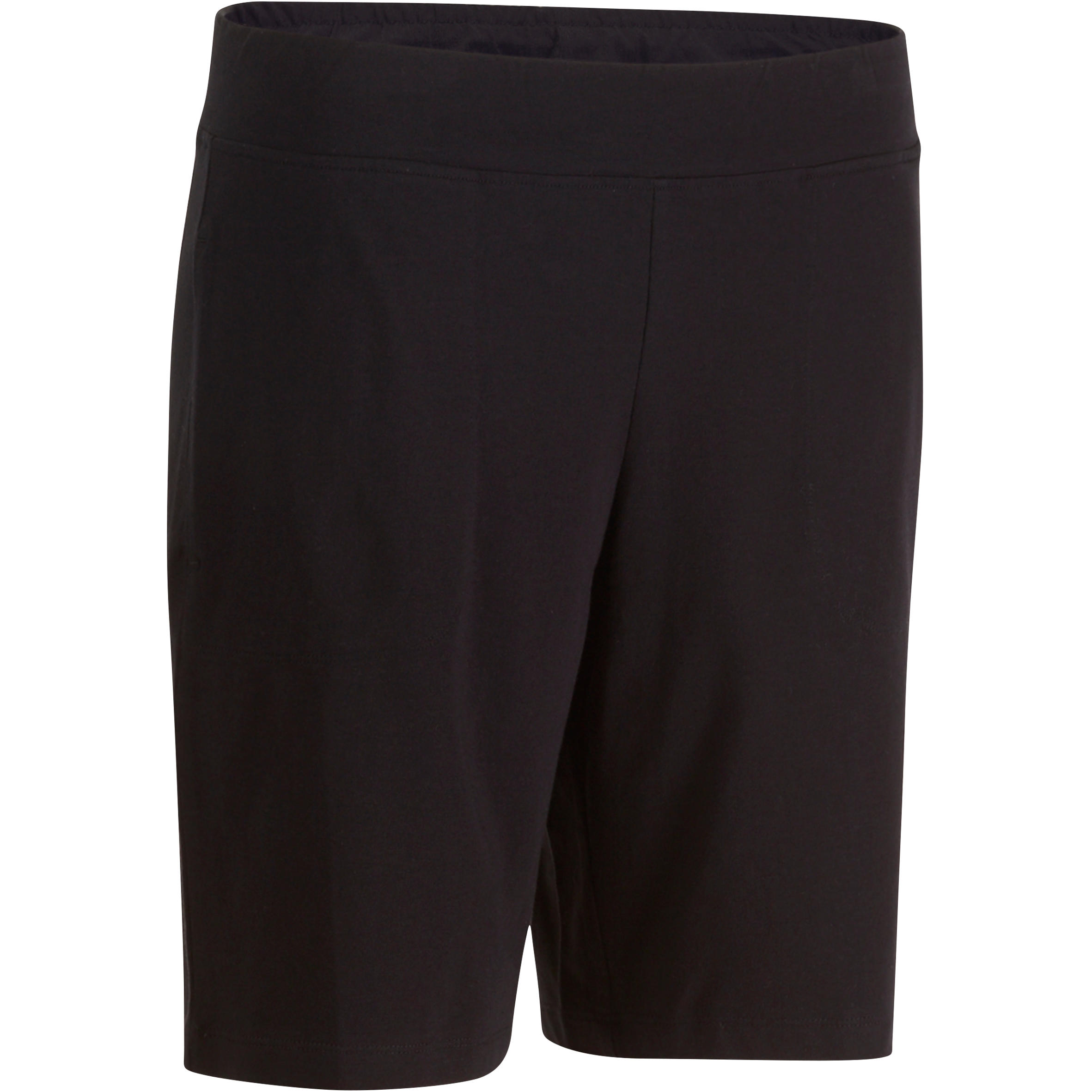 Short Fit+ 500 regular Pilates y Gimnasia suave mujer negro