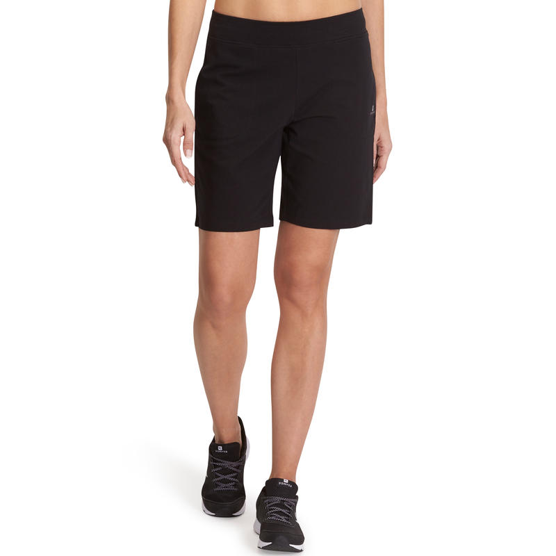 Fit+ 500 Women's Regular Gym & Pilates Shorts - Black