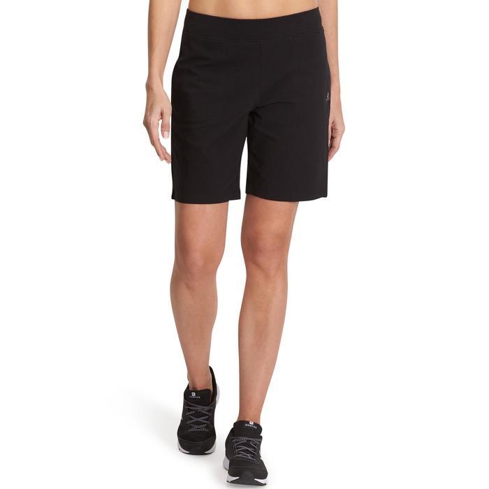Damesshort Fit+ 500 voor gym en pilates regular fit zwart