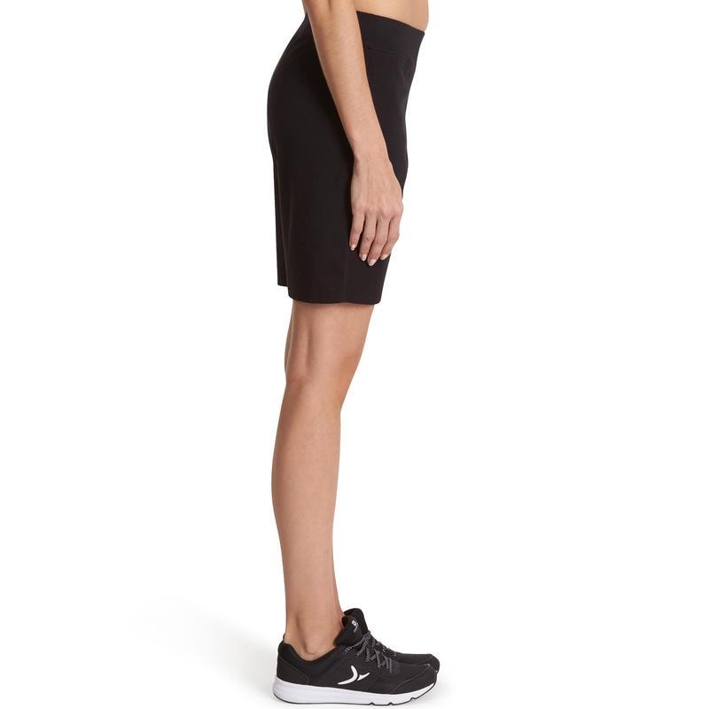 aa0a6a8b1b Női rövidnadrág kímélő tornához, pilateshez Fit+ 500-as, egyenes szárú,  fekete