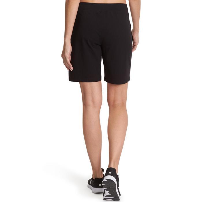 Damesshort FIT+ 500 voor gym en stretching regular fit zwart
