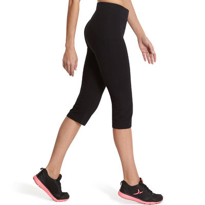 Fit+ 500 Women's Regular Gym & Pilates Cropped Bottoms - Black