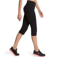 Mallas 3/4 FIT+ 500 regular pilates y gimnasia suave mujer negro