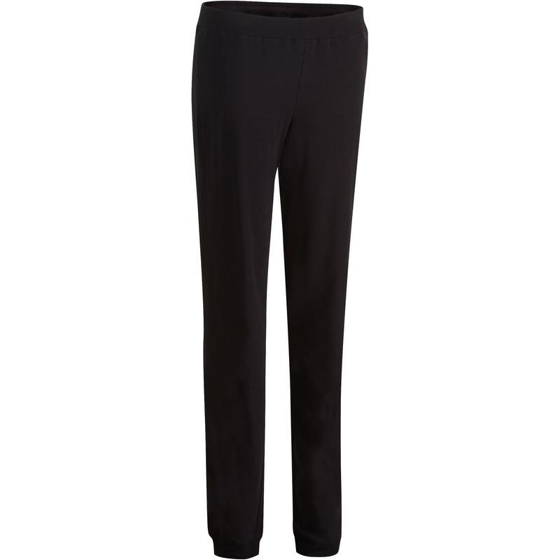 Pantalon 100 regular Gym Stretching femme noir