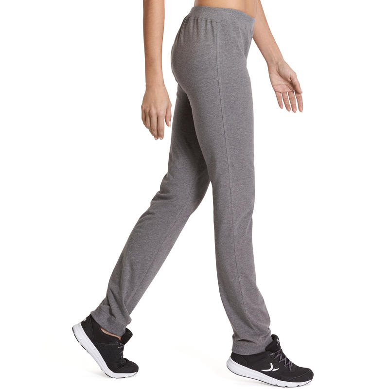 100 Women's Regular-Fit Gym Stretching Bottoms - Mottled Grey