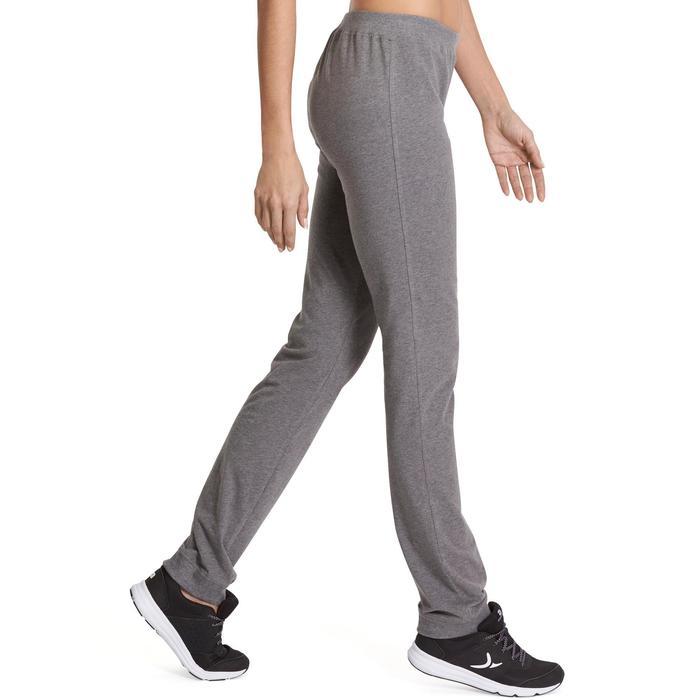 Damesbroek 100 voor gym en stretching regular fit gemêleerd grijs