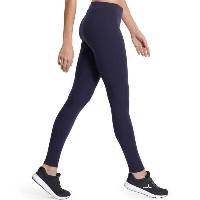 Mallas Leggings Deportivos Gimnasia Pilates Domyos Salto 100 Mujer Azul Marino
